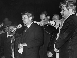 Robert Kennedy speaks to a crowd in Indianapolis after Martin Luther King, Jr. assassination in 1968.